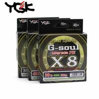 YGK G-Soul X8 Update PE 8 trenza 200m línea de pesca 0.6-3.0 Tamaño verde Alta resistencia Liso 100% original hecho en Japón 201124