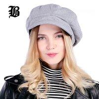 [FLB] Super warme Qualitäts-Art- Künstler Wolle Frauen Barett-Hut für Frauen-Cap Female Cap Gelegenheits Dome Bare Chapeu Hüte Boina 201012