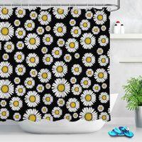 Duschvorhänge Weiße Gänseblümchen Blume Badezimmer Vorhang Wasserdichter Polyestergewebe Floral Black Bad Set mit Haken