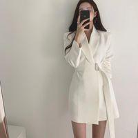 Kadın Takım Elbise Blazers Vintage Beyaz Lace Up Kadınlar Blazer Çentik-Boyun Gevşek Ceket Zarif Giyim 2021 Sonbahar Tam Kollu Kadın Ceket1