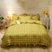 4 Stück Baumwolle Bettwäsche-Sets 2020 Printed Plaid Bett Anzug Bettbezug Warm-Bett-Blatt Designer Bedding Supplies Auf Lager