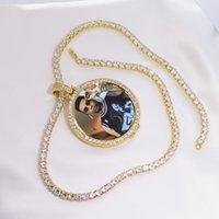 Foto redonda Hecho a medida Medallones Colgante Collar Collar Cadena de tenis Color de oro Color Cubic Zircon Hombre Hip Hop Joyería LJ201007