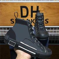 En Kaliteli B 22 23 Yüksek Üst Arı Nakış Eğik Teknik Sneakers Luxurys Tasarımcılar Ayakkabı Erkek Kadın Deri Platformu Rahat Ayakkabılar
