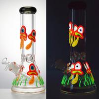 12 pouces de verre en verre bangs brillant dans l'huile sombre DAB plates-formes 18mm femelle grosse bécher bong droit perc eau tuyaux de champignons de champignons