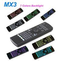 뜨거운 판매 2.4G 원격 제어 MX3 7 색 백라이트 미니 무선 키보드 및 Android TV 용 에어 마우스