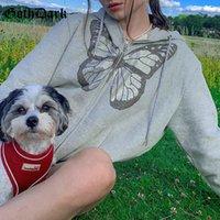 Gorh Koyu Sıcak Kelebek Baskılı Gotik Hoodies Fermuar Ön Cep Boy Sonbahar Hoody Kadınlar için Gri Streetwear Coat F1230