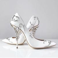 2021 Mode Hochzeit Schuhe Rosa Blau Braut spitz Eden Pumps Frauen High Heels 9 cm Mit Blättern Schuhe für Abend Cocktail Prom Party