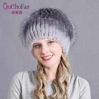 Gorro / gorras de cráneo sombrero de piel de mujer gorro de punto ruso mujer invierno y mujeres reales protección de esquí oído 1