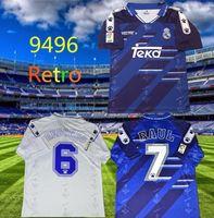 Retro 94 95 96 Retro Jerseys de futebol Real Madrid Raul Zamorano Redondo Camisas de futebol Vintage 1994 1995 1996 Classic Camiseta de Fútbol