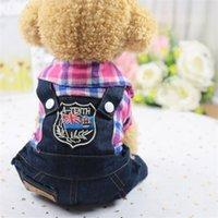 Casual Pet Dog Sweater Padre Stripe Bear Imprime Doggy e filhote de cachorro Denim roupas vestuário 4 pernas gato roupas faculdade estilo 12gd e19