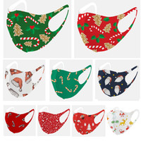 Washable Reusable Christmas Adult Printing Mask Children 3D Star Santa Deer Tree Knitted Mask Ice Silk Opp Bag Packing HH9-3350