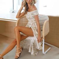 파티 드레스 여성 여름 꽃 무늬 슬래시 목 누적 솔리드 솔스 vestidos 2021 프릴 높은 허리 드레스 가운 femme beach sundress d30