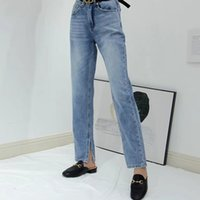 High waist blue women jeans fashion wild split straight lady...