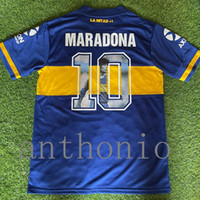 TOPS 20/21 레트로 BOCA JUNIORS 축구 유니폼 Diego Maradona 10 Roman Riquelme Cardona Jersey 드 태국 축구 셔츠 2021 Medel Futbol Shirts 클래식 키트 크기 S-XXL