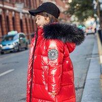 2020 Nuevos abajo chaqueta Niña Niño de mitad de longitud grueso cuello de la piel del Medio grandes infantil Abrigo de invierno desechable