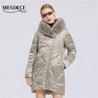Miegofce Yeni Kadın Pamuk Ceket Şık Kürk Yaka Rex Tavşan Uzun Kış Kadın Parkas Rüzgar Geçirmez Ceket Y201012