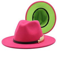 Mulheres Fedoras Dupla face Cor Retalhos Jazz Caps Amplo Brim Panamá Homens Casuais Party Brittany Trilby Felts Eaton Hat