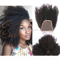Afro Kinky Cheveux Humains Teins avec fermeture de dentelle Grande grade 8a Bundles de cheveux humains avec fermeture en dentelle Perouvain Kinky Cheveux Curly Wefts 4pcs Lot