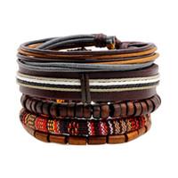 Мужской женские мода деревянные бусины воска шнур кожаные браслеты браслеты (5 шт. / Комплект) PSL129 панк стиль многоэлементный хип-хоп рок ювелирные изделия