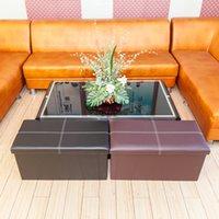 Mobili per soggiorno Whosale Rettangolo Forma Pratica PVC in pelle PVC classica Brown Brown Alta qualità Durevole e sicuro Poggiapiedi