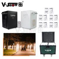 V-show 2pcs 750w con caja de vuelo y 10bags en polvo iluminación iluminación fría chispa fireworks máquina DMX IR Control remoto para bodas