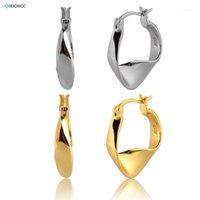 Hoop Huggie Kikichicc 100% Real 925 Sterling Silver 13mm Geometryczne obręcze nieregularne Kolczyk Circle Luksusowa Biżuteria 2021 Fine Jewelry1