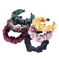 Otoño e invierno color sólido de ala ancha plisada Hairband paño grueso y suave caliente suave diadema diadema Mujer de pelo Accessor