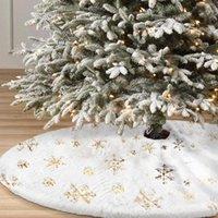"""36 """"/ 48"""" Saias de árvore de Natal Branco com Golden / Silver Flocoke Lantejoulas Faux Fur Tree Skirt Decorações1"""