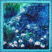 Bufandas de seda cuadrada bufanda de seda 90 cm manchas hechas a mano Monedas Monet Lilies de agua Impreso Bolsa Cinta Hairbands1