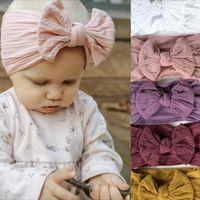Moda Bebek Kız Ilmek Bandı Avrupa Amerikan Çocuklar Yumuşak Jakarlı Naylon Çocuk Headdress Kız Yay Elastik Saç Kurdela C6811