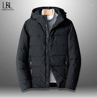 겨울 오리 아래로 자켓 남자 2020 방수 방풍 재킷 따뜻한 코트 인쇄 후드 탑 캐주얼 outwear 남자 의류 M-8XL1