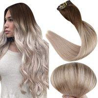 Pinza de balayage de grado 10A en extensiones de cabello Dark Borwn Fading to Ash Blonde Ombre Clip en la extensión del cabello humano 120g / 8pcs