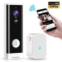 Hot 1080P wifi sonnette pir moniteur moniteur 2 voies caméra vidéo TUYA SMART SMART LIFE App Contrôle de la porte Bell + Ding Dong UE Plug1