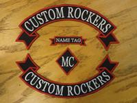 Personalizzato ricamato Rockers Ribbon, Nome MC Set Patch Vest Outlaw Biker MC Club Sew On indietro giacca o cappotto di pelle A7gz #