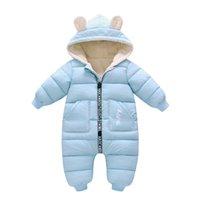 OLEEKID 2020 Kış Bebek Polar Ceket Kaban Artı Kadife Bebek Kız Snowsuit Aşağı Pamuk Erkek Bebek Tulum Toddler Yenidoğan Tulum LJ201023