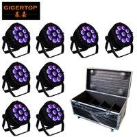 Roadcase 8in1 Pacote com rodas 9x18W Muito LED Par Cans não impermeável Nenhum fã de sopro Mini Tamanho Tyanshine Lâmpadas RGBWA roxo