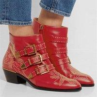 Venda quente couro macio studded susanna tornozelo botas 7 cores apontado toe calcanhar saltos botas mujer outono inverno botas sapatos mulher