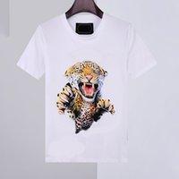 20SS New Mens Shirt Summer T Shirt manica corta Tee Phillip Plain 100% cotone stampa animale stampa collo moda uomo T-shirt