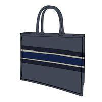 럭셔리 3A 뜨거운 판매 고전적인 브랜드 42cm 블루 블랙 쇼핑백 수 놓은 캔버스 대용량 고품질 핸드백 여성 어깨 가방