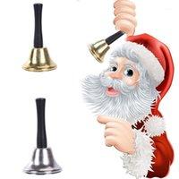 1 шт. 6.5см * 12см Рождественские товары Санта-Клаус деревянный рулочный новогодний колокол золотой серебряный класс Bell Pet1