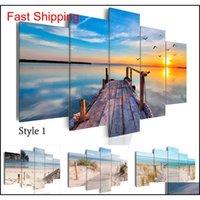 Çerçevesiz 5 adet Modern Manzara Duvar Sanatı Ev Dekorasyon Boyama Tuval Baskılar Resimler Deniz Manzarası ile Plaj (Çerçeve) FB9LK
