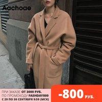 Aachoae Lady Solid Long Wool Coat Batwing с длинным рукавом Элегантный офис куртка Женский Turn Down Воротник Повседневная Coat Женщины 200930