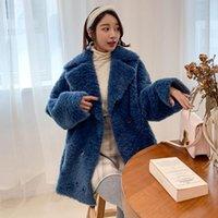 S-XL 플러스 사이즈 Fuax 모피 코트 여성 더블 브레스트 두꺼운 따뜻한 모피 코트 겨울 모직 겉옷 웜 자켓 QJ01