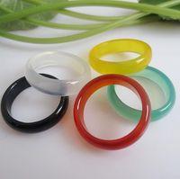Olika Färg Natural Agate Stone Ring Bredd 6mm Agat Jewel Ring Jewel Hand Circle Ishining Smycken För Kvinnor Män PS1692
