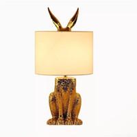 Modern skrivbordslampa Guldmaskad kaninduk Lampskärmsbordslampor Inomhus Hem Hotell Bedside Creative LED Bordsljus
