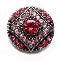 Pulseras de encanto 2021 Rhinestone rosado estilo redondo Forma redonda Metal 18mm Botón de ajuste Encantos para pulsera Snaps Joyería KZ0577F1