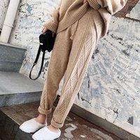 Зимние утолщение женщин гарем брюки повседневные шнурки скрученные трикотажные штаны Femme шикарное теплые женские свитер брюки 2021