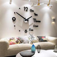 Настенные часы наклейки часов 3 цвета 3D зеркало спальня самоклеящиеся наклейки современный дизайн акриловый DIY телевизор фона cool съемный