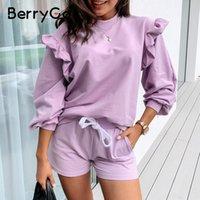 BerryGo Casual o neck women sweatshirt ladies tops Vintage ruffle purple sweatshirt long sleeve autumn pull femme tracksuit 201019