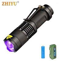 Torcia torce Led Led Illuminazione UV UV Ultraviolet Torch Zoom PET URINE Scorpion Detector Portable Light Tre modalità Clip Unit Lamp Lantern1